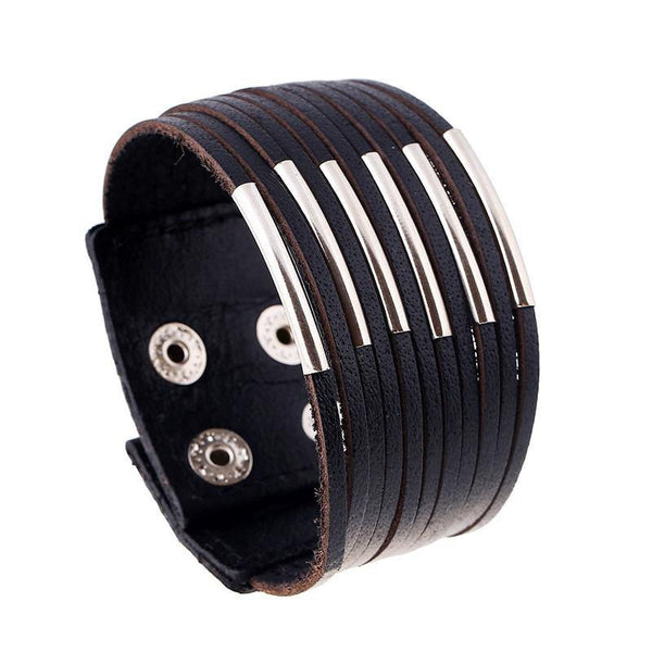 Men's Punk Style Wide Rivet Genuine Leather Bracelets & Bangles High Quality-Women's Accessories-WickyDeez