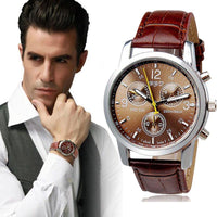 Men's Relogio Masculino High Quality Pu Quartz Alloy Analog Wrist Watch-Accessories-WickyDeez
