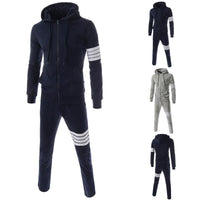 Men's Ribbon Design Hoodies Tracksuits Set/Sweatshirts+Pants Sportswear (2 Colors)-Men's Pants-WickyDeez