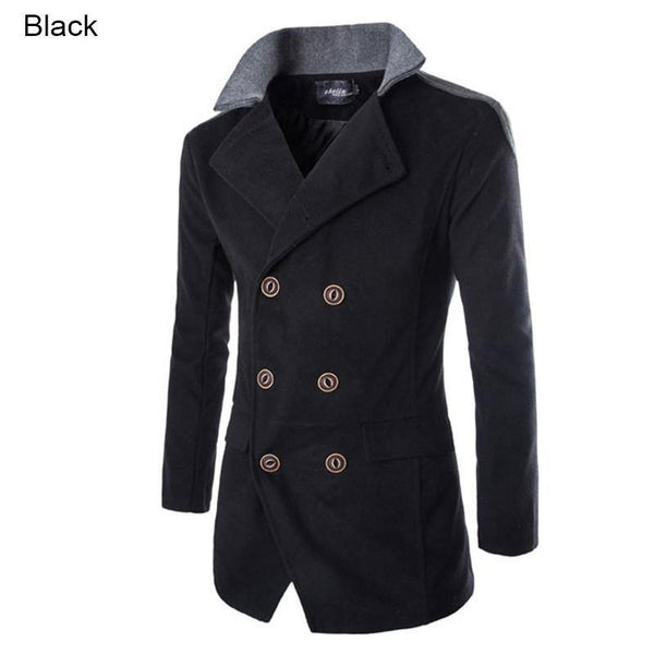 Men's Slim Fit Fashion Winter Stand Collar Wool Jacket Coat - Double Breasted Patchwork (3 Colors)-Men's Jackets-WickyDeez