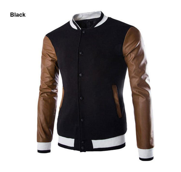 Men's Slim Fit Stitching Hoodie Casual Coat Jacket Cardigan with Leather Sleeves Patchwork Style - 3 Colors-Men's Jackets-WickyDeez