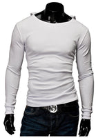 Men's Solid Cotton Tees Top T-Shirt with Hat Long Sleeves - 4 Colors-Men's Tops-WickyDeez