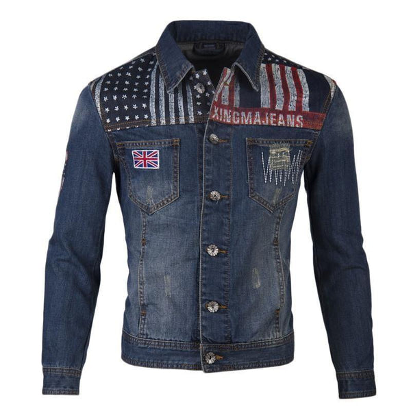 Men's Spell Color Flag Printing Design Coat Stitching & Holes Denim Jacket (Sizes M-XXL)-Men's Tops-WickyDeez