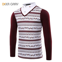Men's Stitching Design Casual Polo shirt Leisure Long Sleeve Turn-down Collar-Men's Tops-WickyDeez