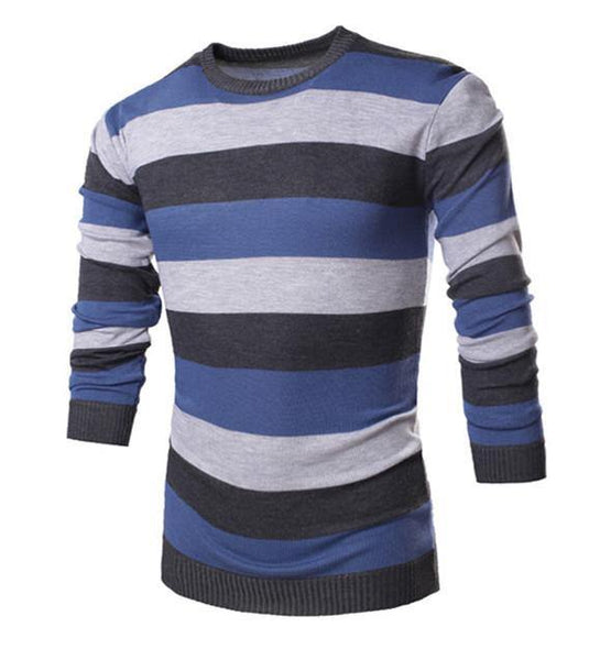 cc344523f9 Men's Striped Long Sleeve O-Neck Collar Knitted Sweater Top Quality Brand  Clothing - 4