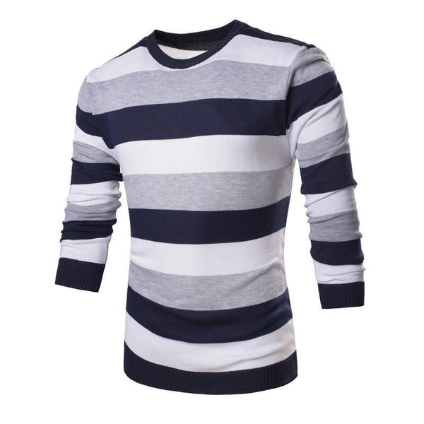 f07f110934 ... Men's Striped Long Sleeve O-Neck Collar Knitted Sweater Top Quality  Brand Clothing - 4 ...