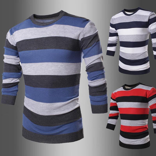 9f338bfe7e ... Men's Striped Long Sleeve O-Neck Collar Knitted Sweater Top Quality  Brand Clothing - 4