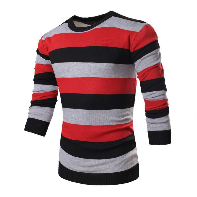 3293c82f9f Men's Striped Long Sleeve O-Neck Collar Knitted Sweater Top Quality Br –  WickyDeez