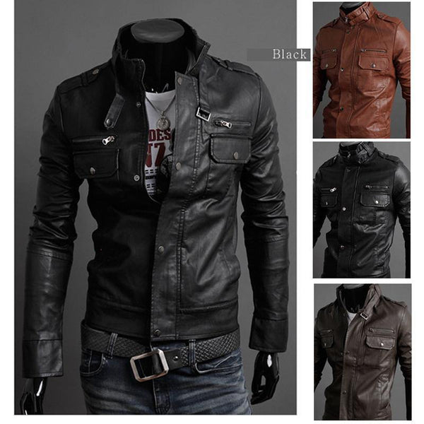 Men's Stylish Horizontal Zipper Short Paragraph Slim Leather Collar Washed Leather Motorcycle Leather Jacket / Coat-Men's Jackets-WickyDeez