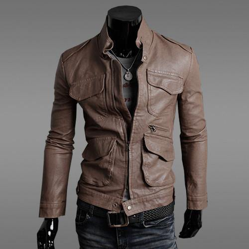 Men's Stylish Horizontal Zipper Slim Leather Collar Washed Leather Motorcycle Jacket / Coat-Men's Jackets-WickyDeez
