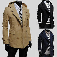 Men's Trench Coat Double Breasted Trench Men's Outerwear Casual Coat Men's Jackets 4 Colors-Men's Jackets-WickyDeez