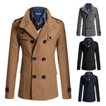Men's Turn-down Collar Wool Blend Warm Thick Double Breasted Winter Overcoat - 4 Colors-Men's Jackets-WickyDeez