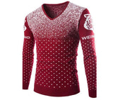 Men's V-Neck Long Sleeve Knit Pullover Sweater Jumper - Snow & Tiger Pattern (Up to 3 Colors)-Men's Tops-WickyDeez