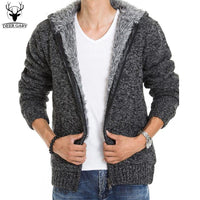 Men's Winter Fur Lining Thick Warm Hoodies Zipper Knitted Jacket / Jumper (Up to 5 Colors)-Men's Jackets-WickyDeez