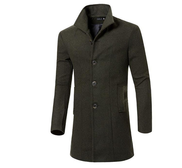 Men's Winter Wool Jacket - Slim Fit Solid Long Wool Coat (Choices Up to 5 Colors - Sizes M-3XL)-Men's Jackets-WickyDeez
