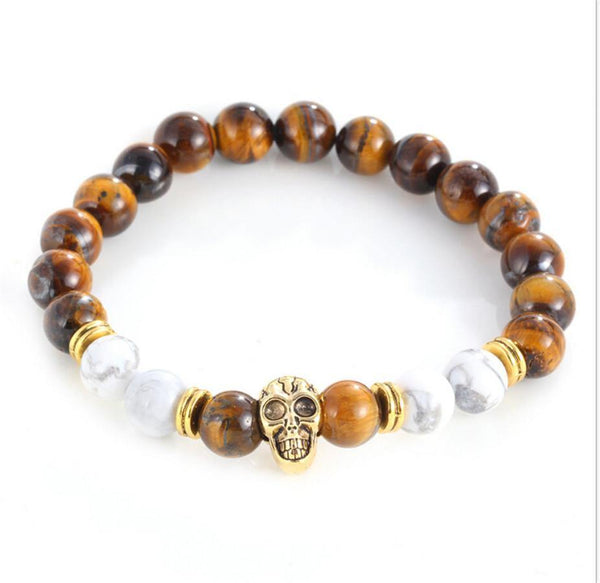 Natural Stone Buddha Anchor Skull Agate Bracelet For Women/Men Fashion Jewellery-Women's Accessories-WickyDeez