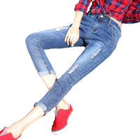 New Fashion Women Ankle-length Denim Pants Casual Mid-waist Slim Fit Pencil Jeans Korean Hole Ripped Skinny Femme Jeans-Women's Bottoms-WickyDeez