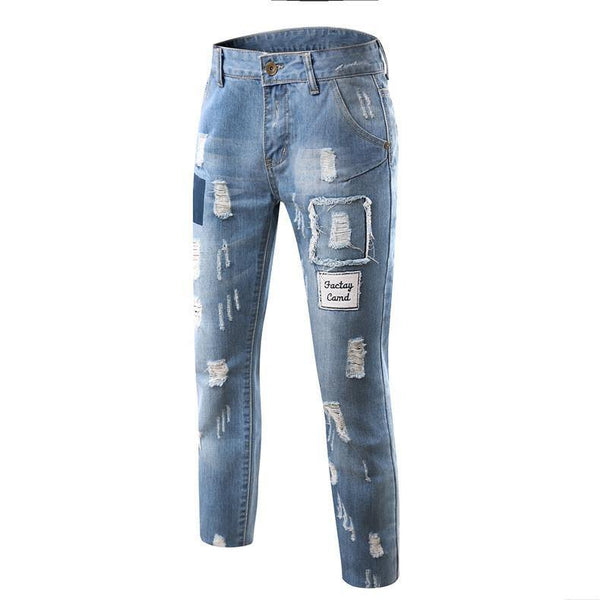 New Men's Fashion Design Hole / Ripped Torn Denim Jeans Look Blue Straight Jeans Pants (Size 28-36)-Men's Pants-WickyDeez
