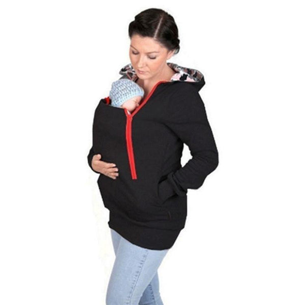New Multifunctional Maternity+Baby+Hoodies Pregnancy Pregnant Carry Baby Sweatshirts Mom Zipper Coat-Women's Tops-WickyDeez