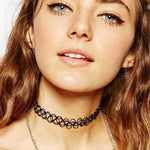 Sexy Vintage Neck Choker Strip Black Style Tattoo Shaped Necklace Choker-Women's Accessories-WickyDeez