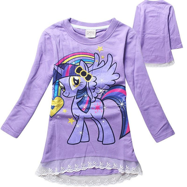 Girls Cute My Little Pony Lace Long-Sleeved Cotton T-shirt Cartoon Print Kids Clothing Ages from 2- 8yrs-Children's Apparel-WickyDeez