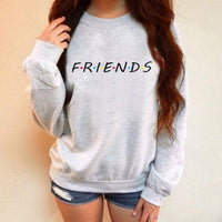 Womens F.r.i.e.n.d.s Sweatshirt Casual Letter O-Neck Chic Pullover Friends Black Gray Top-Women's Tops-WickyDeez