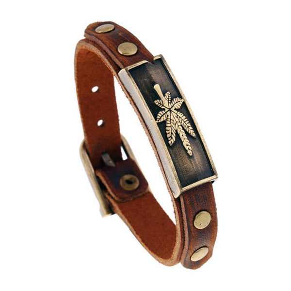 Punk Style Alloy Leather Leaf Wristband Charm Bracelet For Women/Men Fashion Jewellery-Women's Accessories-WickyDeez