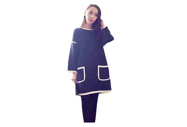 Pure Color Women's Pockets Style Dress Casual Long Sleeve Shirt-Women's Dresses-WickyDeez