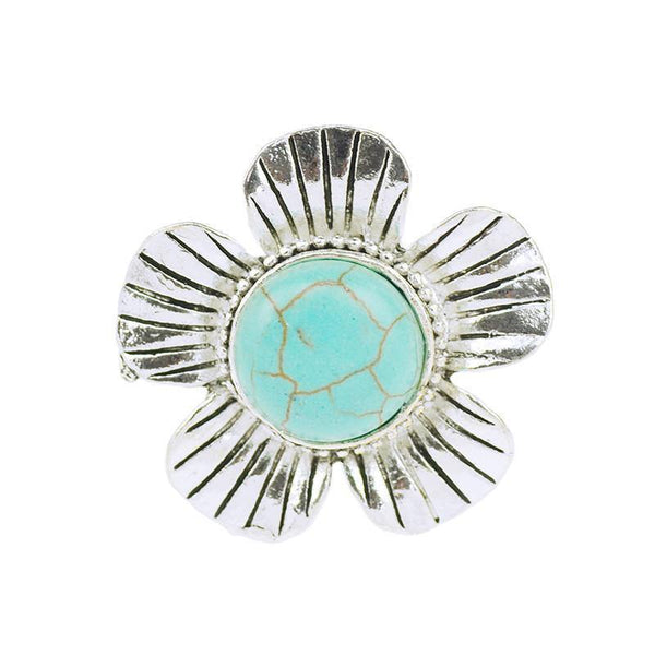 Romantic Style Fashion Adjustable Flower Turquoise Ring-Women's Accessories-WickyDeez