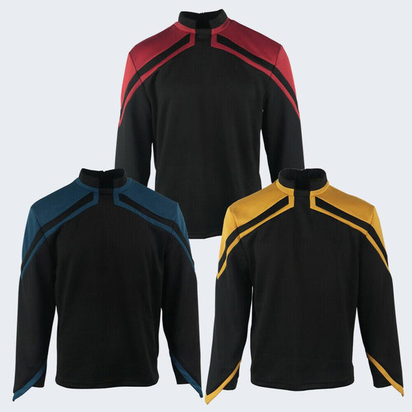 Mens Admiral JL Picard Cosplay Uniform Costume Shirt Top Startfleet Colors Red Gold Blue WickyDeez