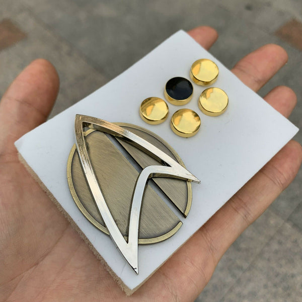 NEW Star Trek Picard Combadge Rank Pips Badge Set Command Science Engineering Pin Brooch
