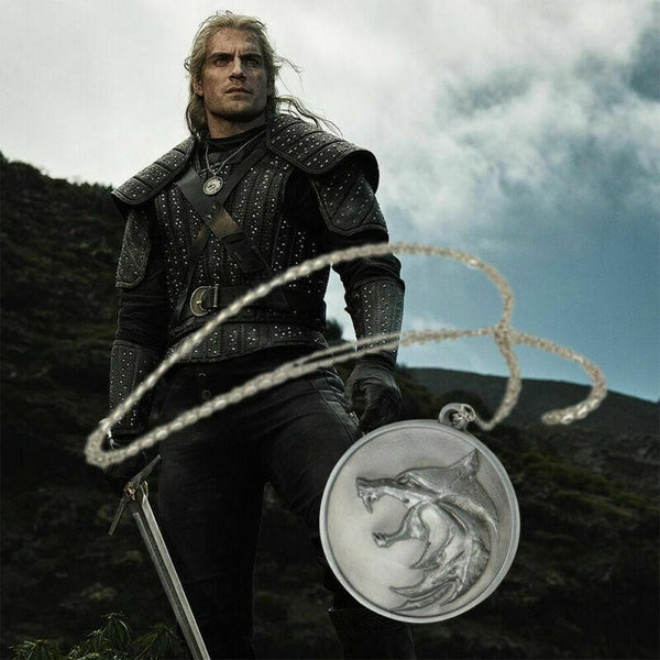 2019 The Witcher Geralt Henry Cavill Wolf Head Chain Necklace Pendant Prop