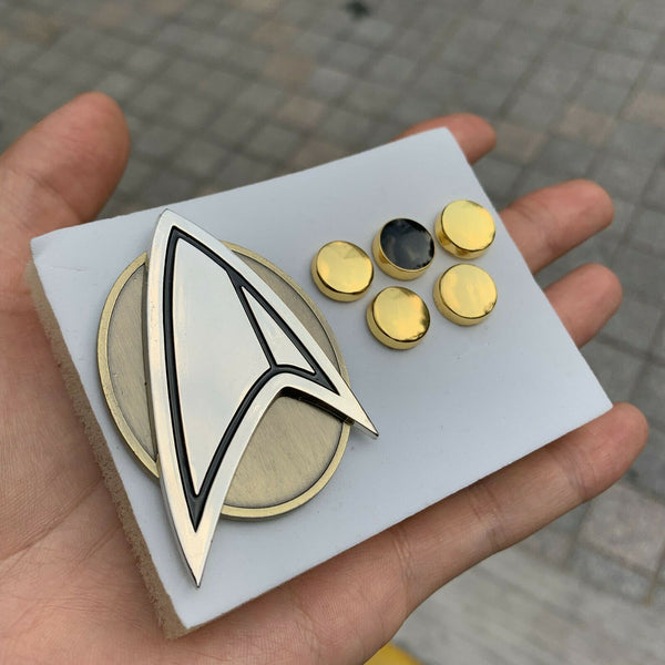 NEW Star Trek Picard Combadge Rank Pips Brooch Set Command Science Engineering Pin Badge Set