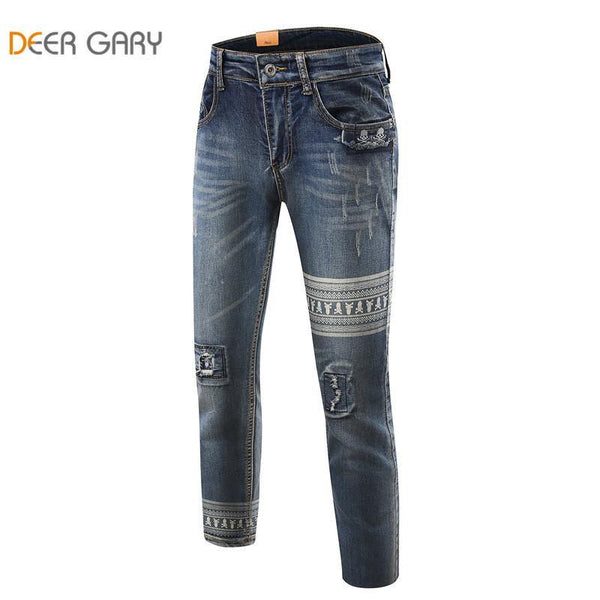 Skull Print High Quality Men's Slim Blue Denim Washed Straight Jeans Sizes 28-36-Men's Pants-WickyDeez