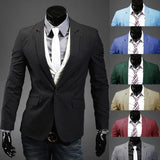 Slim Stylish Men's Casual Fit One Button Suit Blazer Coat Jacket (Up to 8 Colors)-Men's Jackets-WickyDeez