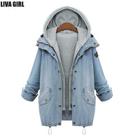 Spring Autumn Women's Two Piece Vintage Set Denim Oversized Jacket Coat With Hoody-Women's Tops-WickyDeez