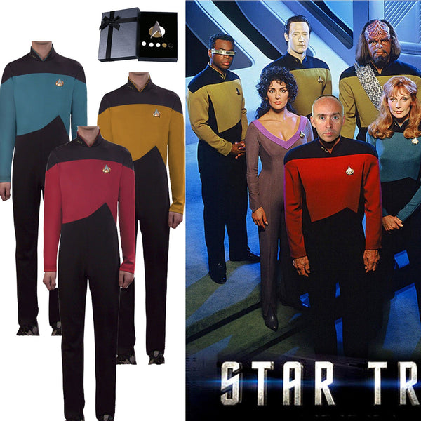 Star Trek Cosplay Costume The Next Generation Jumpsuit Uniform in Red Gold Blue Colors-Star Trek-WickyDeez