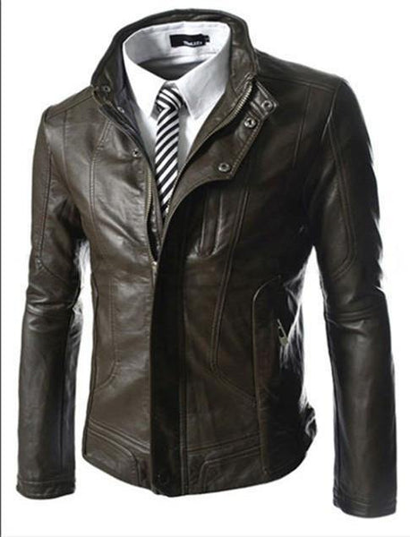 Stylish Horizontal Zipper Washed Slim Leather Paragraph Collar Motorcycle Jacket / Coat-Men's Jackets-WickyDeez