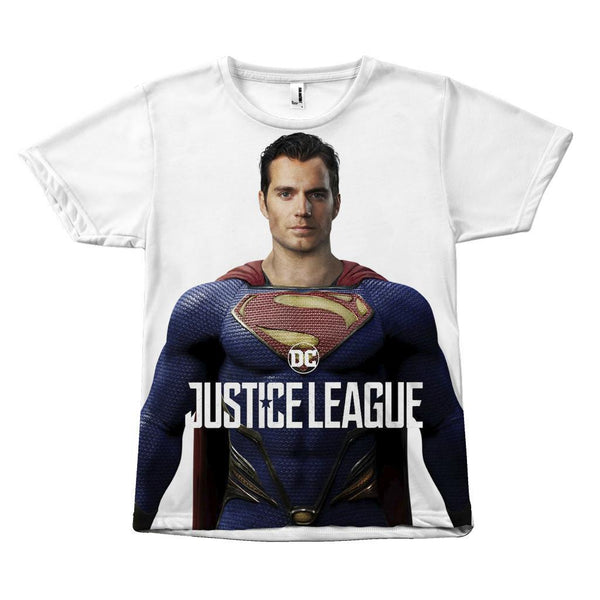 Superman Justice League Henry Cavill Canvas Size Sublimation Unisex T-Shirt-DC Comics Cosplay-WickyDeez
