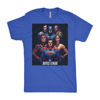 The Justice League Mens Next Level Triblend T-Shirt Group Edition-DC Comics Cosplay-WickyDeez