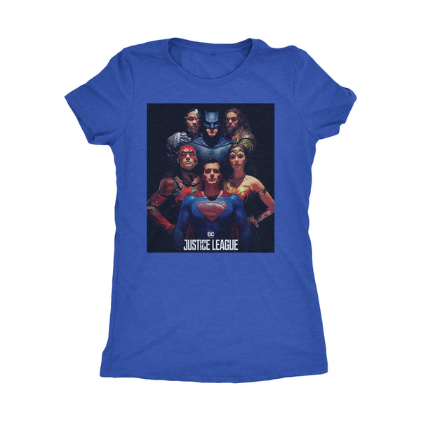 The Justice League Womens Next Level Triblend T-Shirt Group Edition-DC Comics Cosplay-WickyDeez