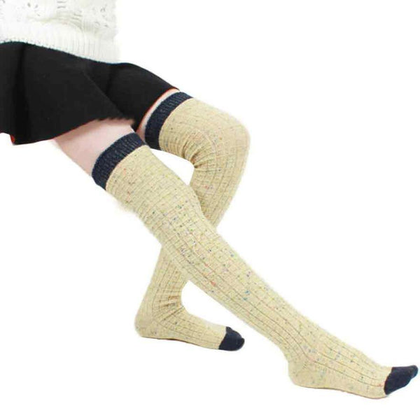 Thick Warm Soft Cotton Long Solid Over Knee Leg Warmer Winter Socks Leggings (In 3 Colors)-Women's Bottoms-WickyDeez