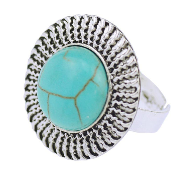 Tibetan Silver Vintage Turquoise Adjustable Ring-Women's Accessories-WickyDeez
