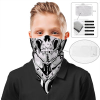 Children's Knight Skull Face Mask Scarf Cover | 2x - 50x Disposable Five Layer Filter Pads Available - WickyDeez