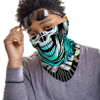 Cross-bone Skull Snood Face Mask Balaclava Scarf Cover | 2x - 50x Disposable Five Layer Filter Pads Available - WickyDeez