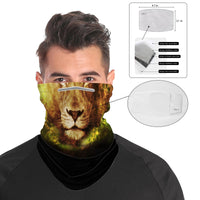 Lion Snood Face Mask Balaclava Scarf Cover | 2x - 50x Disposable Five Layer Filter Pads Available