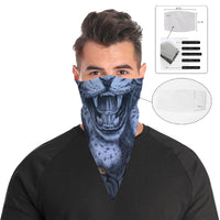Roaring Blue Leopard Bandana Face Mask Cover | 2x - 50x Disposable Five Layer Filter Pads Available - WickyDeez
