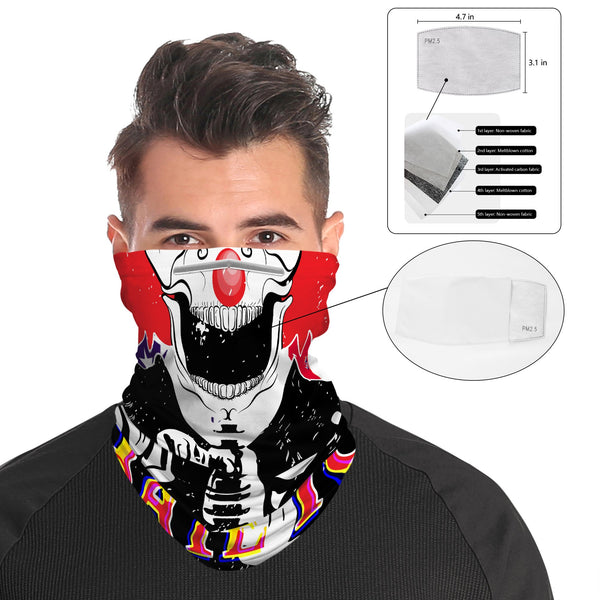 Red Nose Clown Snood Face Mask Balaclava Scarf Cover | 2x - 50x Disposable Five Layer Filter Pads Available