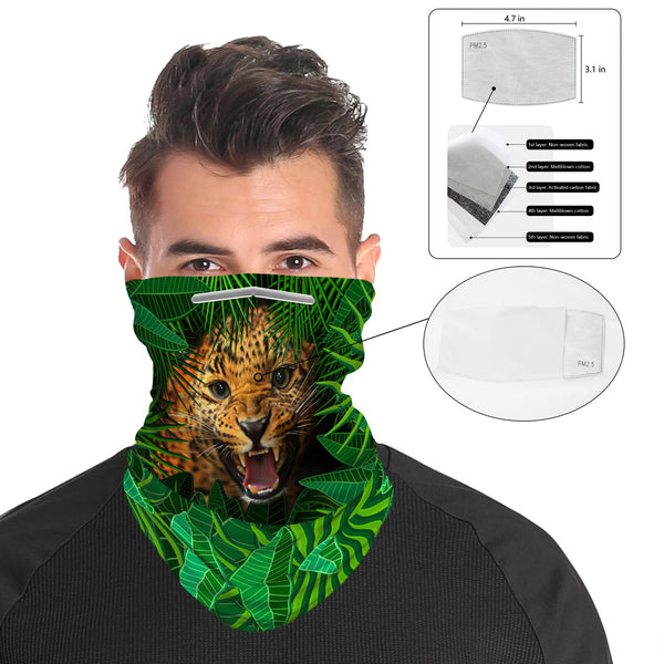 Leopard Snood Face Mask Balaclava Scarf Cover | 2x - 50x Disposable Five Layer Filter Pads Available