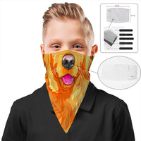 Children's Dog Bandana Face Mask Scarf Cover | 2x - 50x Disposable Five Layer Filter Pads Available
